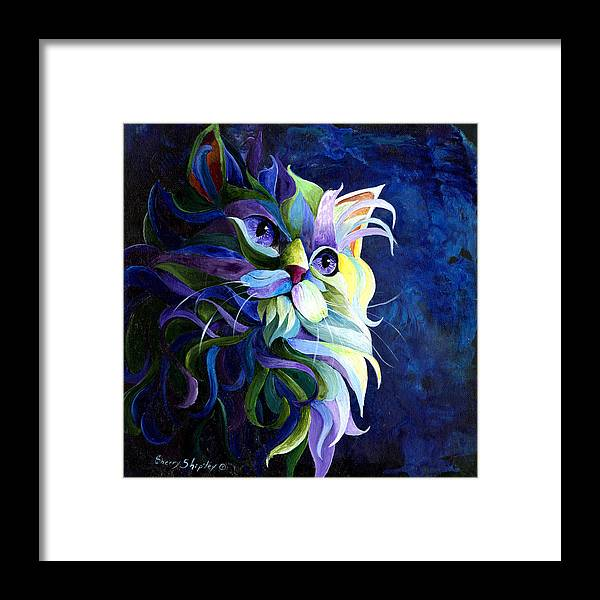 Cat Framed Print featuring the painting Shadow Puss by Sherry Shipley