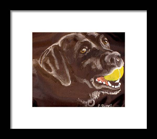 Black Labrador With Tennis Ball Framed Print featuring the painting Shadow With Ball by Carol Russell