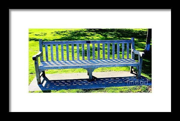 Bench Framed Print featuring the photograph Shadows Of A Park Bench by Judy Palkimas
