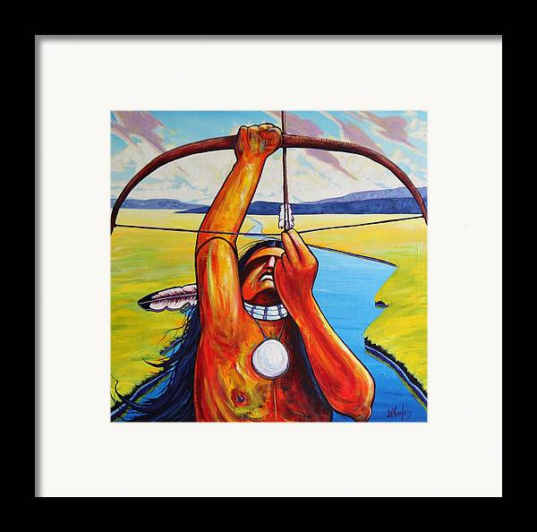 Native American Framed Print featuring the painting Shamans Prayer by Joe Triano
