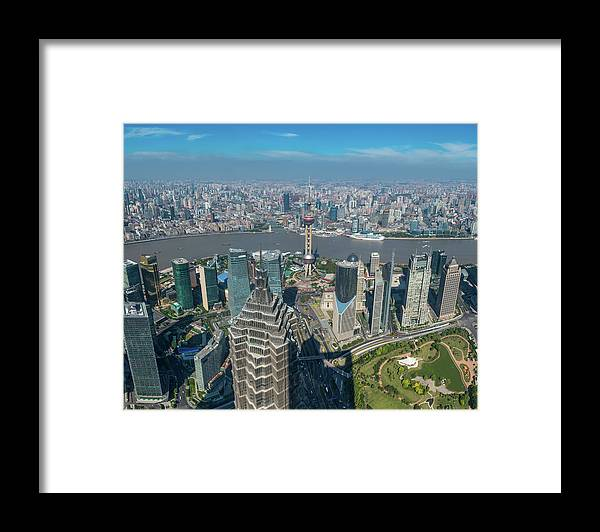 Chinese Culture Framed Print featuring the photograph Shanghai Aerial View Over Pundong by Fotovoyager