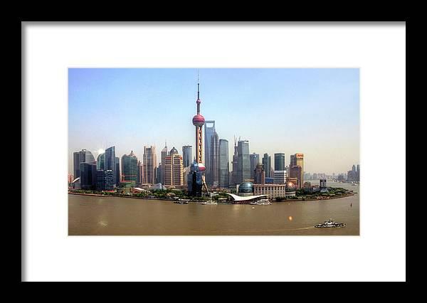 Outdoors Framed Print featuring the photograph Shanghai Skyline by Mariusz Kluzniak