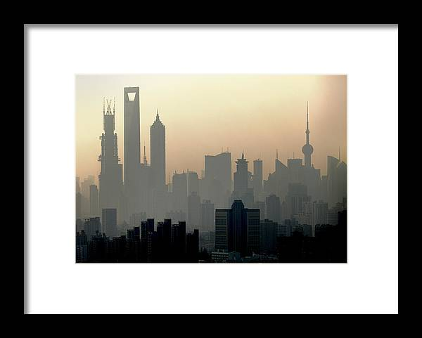 Dawn Framed Print featuring the photograph Shanghai Skyline Three Towers And Perl by Douglas Von Roy