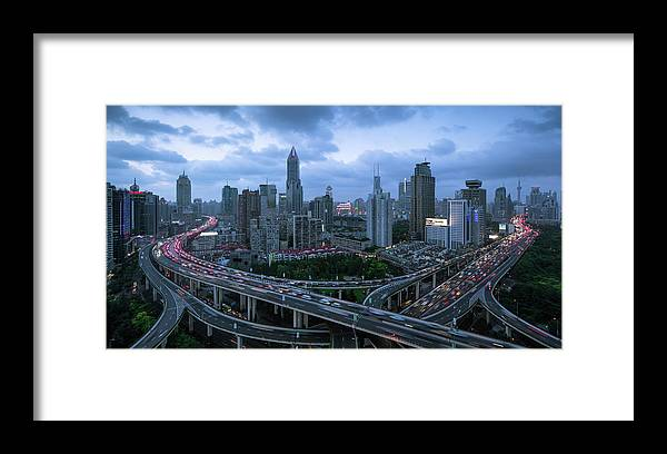 Forked Road Framed Print featuring the photograph Shanghai Skyline With Roads And Traffic by Spreephoto.de