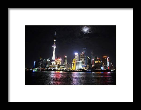 Full Framed Print featuring the photograph Shanghai Tower With Full Moon Night China by Auttapon Moonsawad