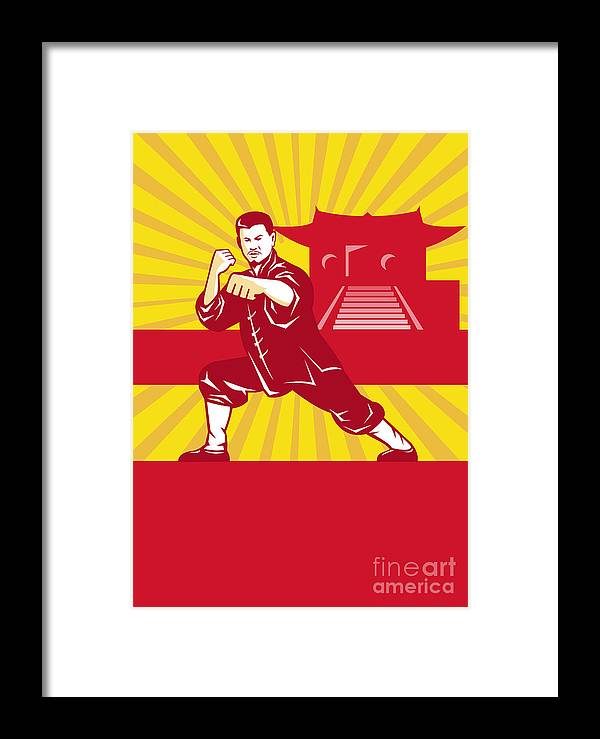 Shaolin Framed Print featuring the digital art Shaolin Kung Fu Martial Arts Master Retro by Aloysius Patrimonio
