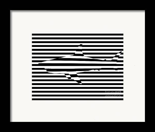 Abstract Framed Print featuring the painting Shark Optical Illusion by Pixel Chimp