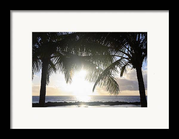 Background Framed Print featuring the photograph Sharks Cove Sunset by Brandon Tabiolo