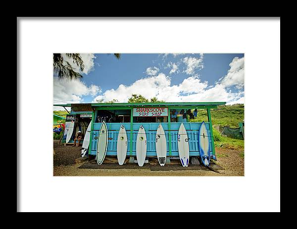 People Framed Print featuring the photograph Sharks Cove Surf Shop With New by Merten Snijders