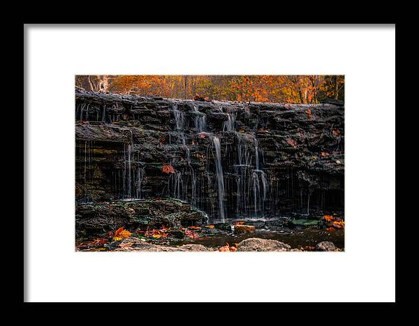 sharon Woods cathy Donohoue Photography autumn Colors autumn Leaves fall Colors fall Leaves Framed Print featuring the photograph Sharon Woods Waterfall by Cathy Donohoue