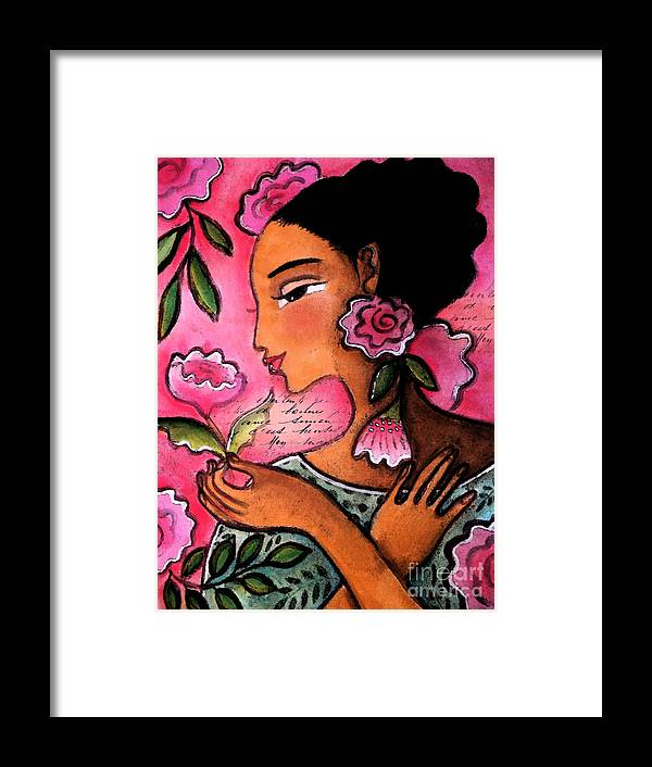 Figurative Framed Print featuring the mixed media She Loves Flowers by Elaine Jackson