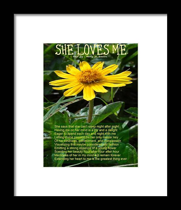 Flower Framed Print featuring the photograph She Loves Me by Rusty Gouveia