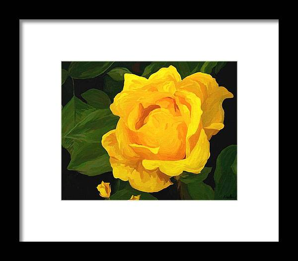 Botanical Framed Print featuring the painting She Whispers by Kristie Mercer