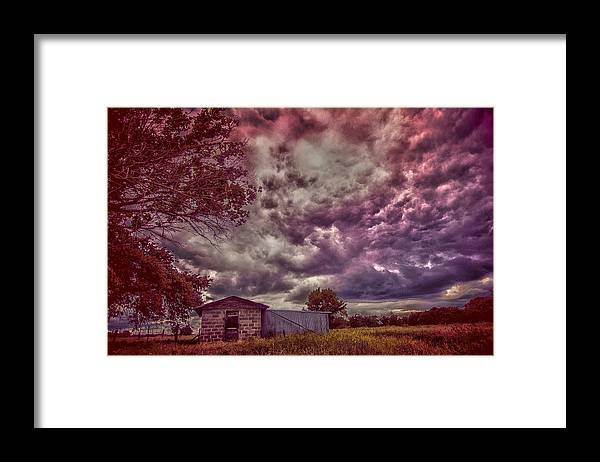 Landscape Framed Print featuring the photograph Shed against the Storm by Toni Hopper