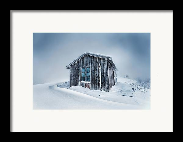 Balkan Mountains Framed Print featuring the photograph Shed In The Blizzard by Evgeni Dinev