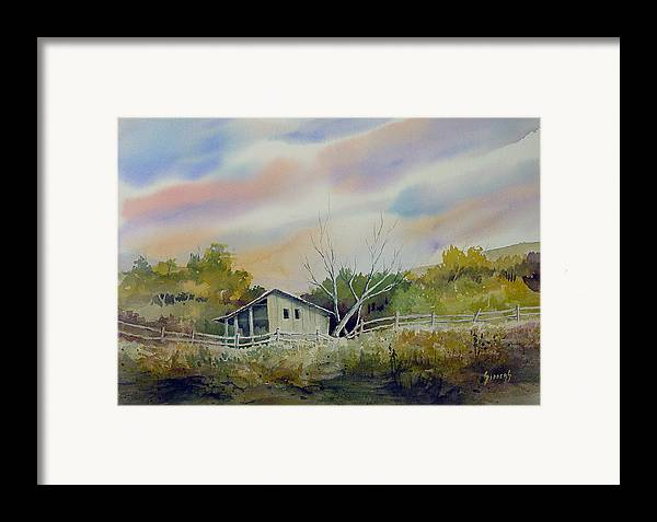 Shed Framed Print featuring the painting Shed With A Rail Fence by Sam Sidders