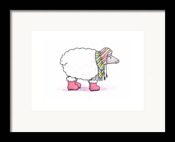 Sheep Framed Print featuring the painting Sheep In A Scarf by Christy Beckwith