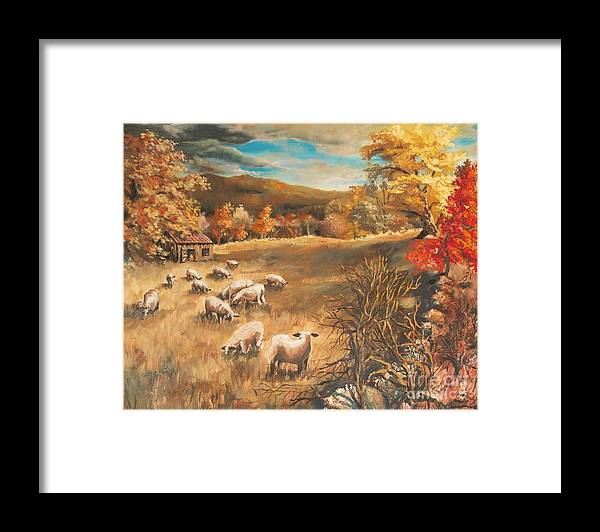 Oil Painting Framed Print featuring the painting Sheep in October's field by Joy Nichols