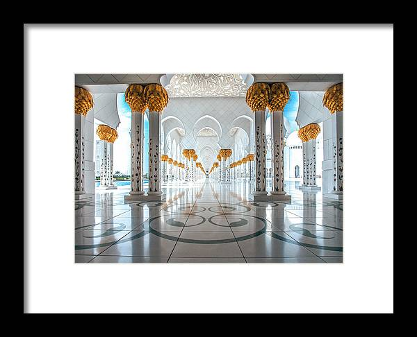 Uae Framed Print featuring the photograph Sheikh Zayed Grand Mosque by Robert Aycock