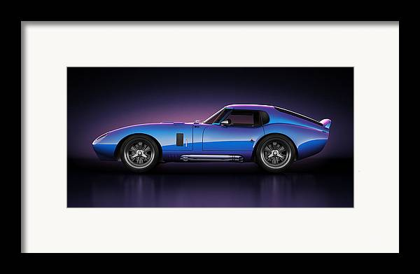 Transportation Framed Print featuring the digital art Shelby Daytona - Velocity by Marc Orphanos