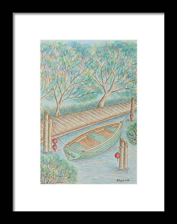 Dinghy Framed Print featuring the painting Shelling Dinghy by Nancy Taylor