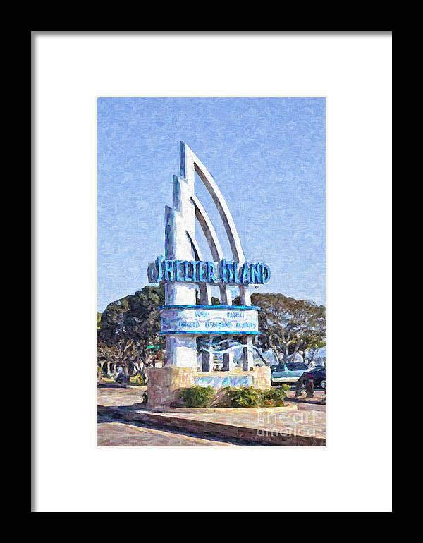Shelter Island Framed Print featuring the digital art Shelter Island Sign San Diego California Usa by Liz Leyden
