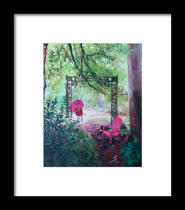 Poet\'s Garden Framed Print featuring the painting Shelter by Lynne Schulte