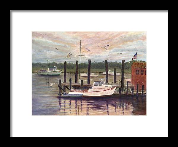 Charleston; Boats; Fishing Dock; Water Framed Print featuring the painting Shem Creek by Ben Kiger