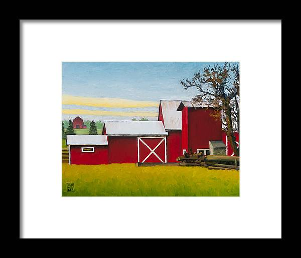 Farm Framed Print featuring the painting Sherman Squash Farm by Stacey Neumiller