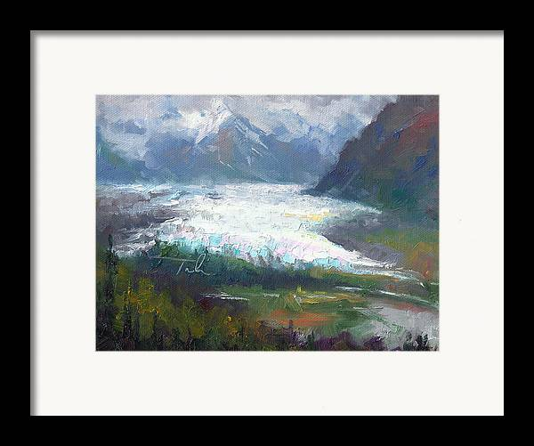 Alaska Framed Print featuring the painting Shifting Light - Matanuska Glacier by Talya Johnson