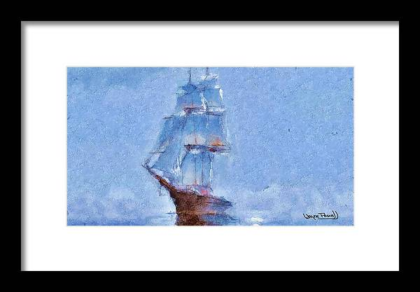Sea Framed Print featuring the painting Ship In Fog by Wayne Pascall