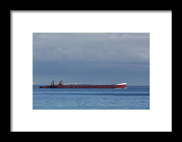 Mackinac Framed Print featuring the photograph Ship On Lake Huron 1 by John Brueske