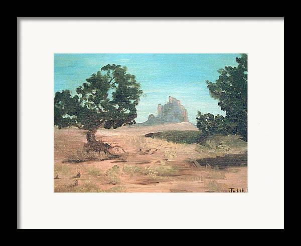 Mountain Framed Print featuring the painting Ship Rock New Mexico by Judi Pence