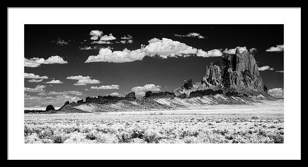 Black And White Framed Print featuring the photograph 90272 Shiprock Dyke Long View by Erik Poppke