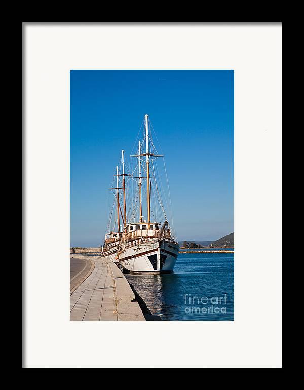 Lefkada Framed Print featuring the photograph Ships At Lefkada by Gabriela Insuratelu