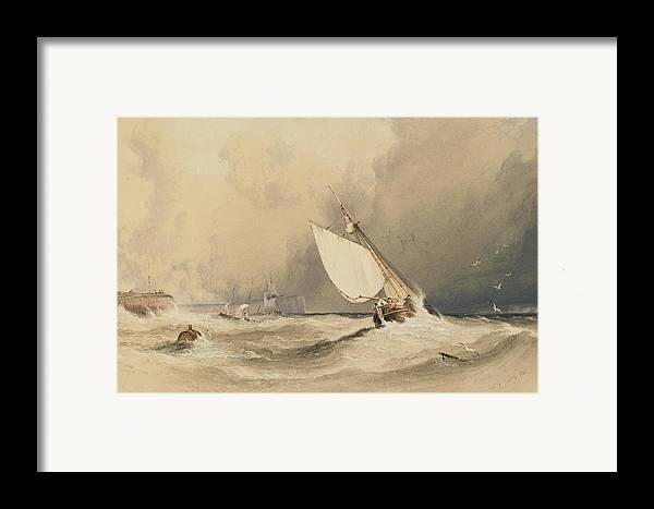 Ships Framed Print featuring the painting Ships At Sea Off Folkestone Harbour Storm Approaching by Anthony Vandyke Copley Fielding