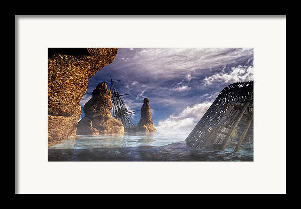 Orsillo Framed Print featuring the digital art Shipwreck by Bob Orsillo