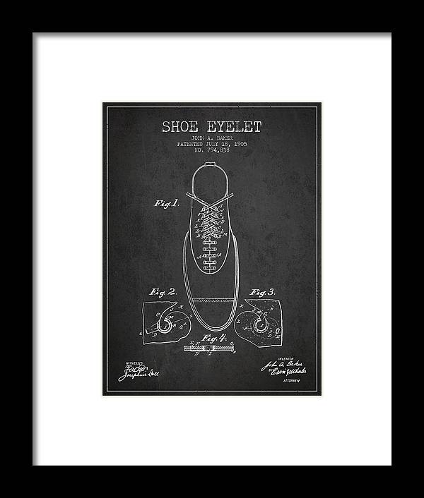 Shoes Framed Print featuring the digital art Shoe Eyelet Patent From 1905 - Charcoal by Aged Pixel