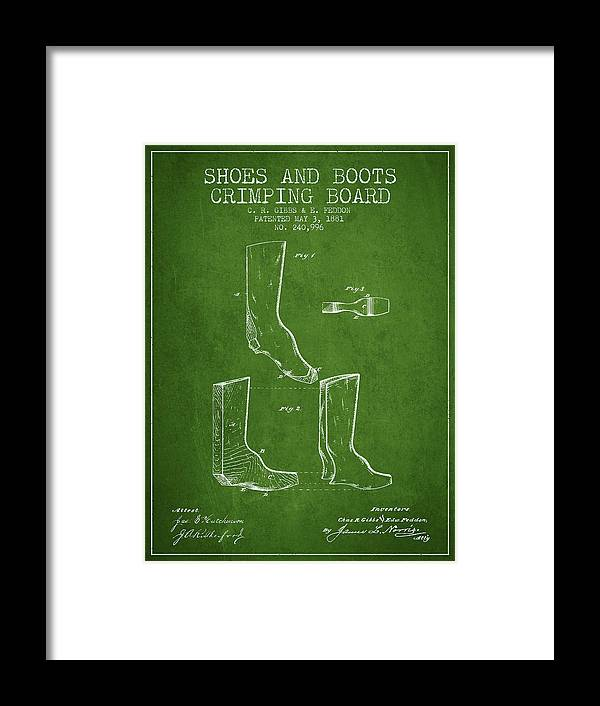 Shoes Framed Print featuring the digital art Shoes And Boots Crimping Board Patent From 1881 - Green by Aged Pixel