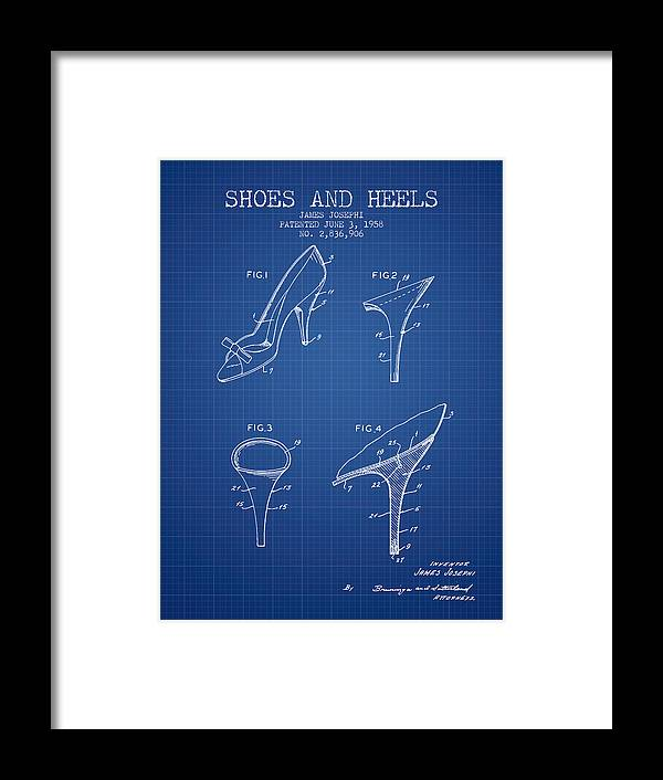 e38e966a91 Heels Framed Print featuring the digital art Shoes And Heels Patent From  1958 - Blueprint by
