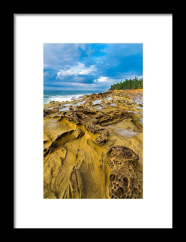 Shore Acres Framed Print featuring the photograph Shore Acres Sandstone by Robert Bynum