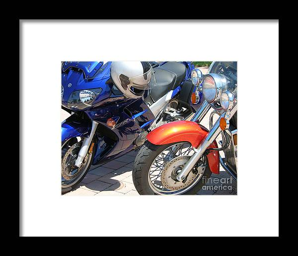 Motorcycles Framed Print featuring the photograph Short Pause by Mariarosa Rockefeller