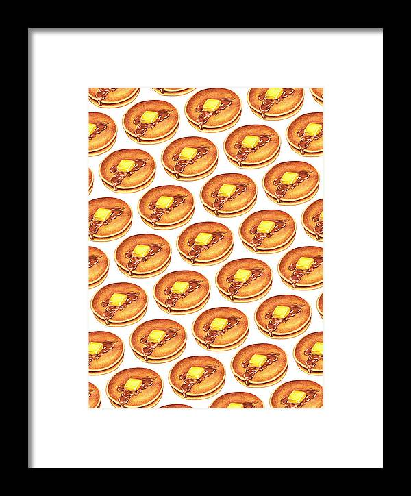 Pancakes Framed Print featuring the painting Short Stack Pattern by Kelly Gilleran