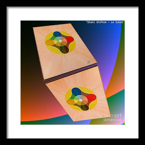 Shots Framed Print featuring the painting Shots Shifted - Le Soleil 2 by Michael Bellon
