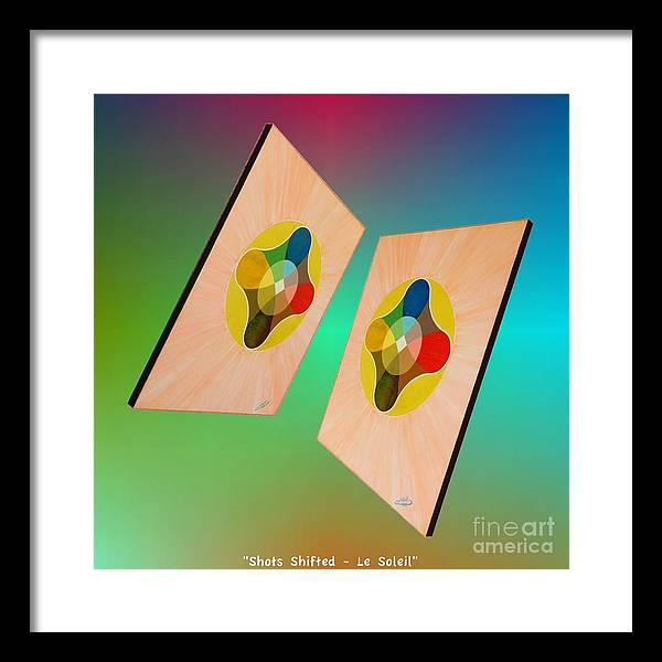 Shots Framed Print featuring the painting Shots Shifted - Le Soleil 7 by Michael Bellon