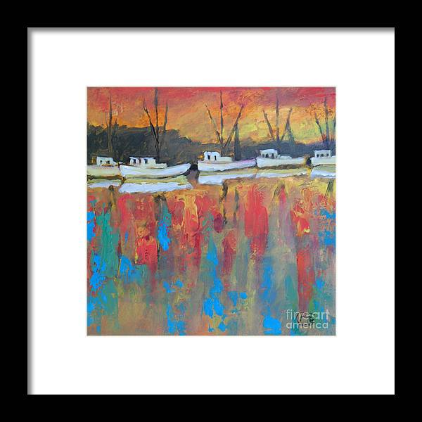 Shrimp Boats Framed Print featuring the painting Shrimp Boats At Dawn by Kip Decker