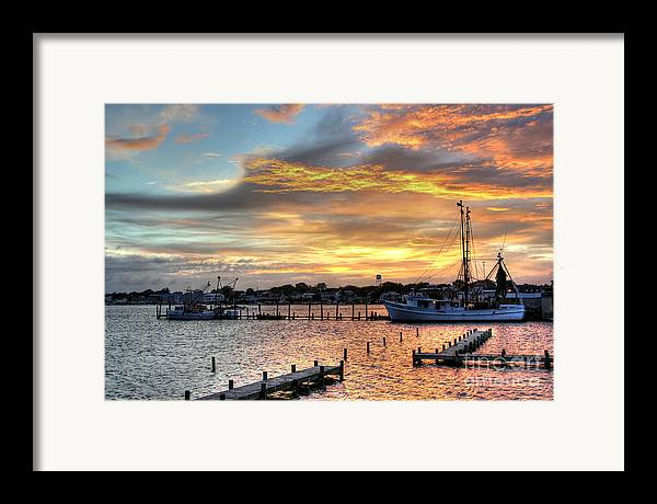North Carolina Framed Print featuring the photograph Shrimp Boats At Sunset by Benanne Stiens