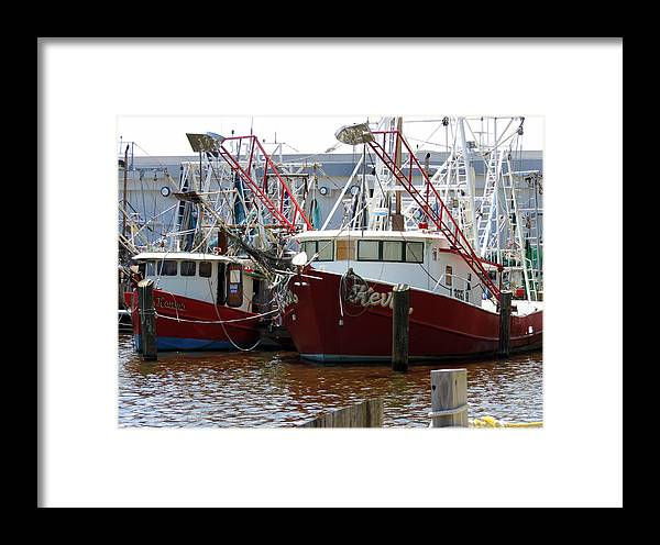 Boats Framed Print featuring the photograph Shrimp Boats by Cathy Jourdan