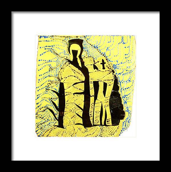 Jesus Framed Print featuring the ceramic art Shroud Of Jesus by Gloria Ssali