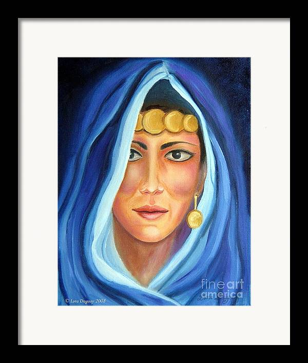 Gypsy Woman Framed Print featuring the painting Shroud Of Mysticism by Lora Duguay